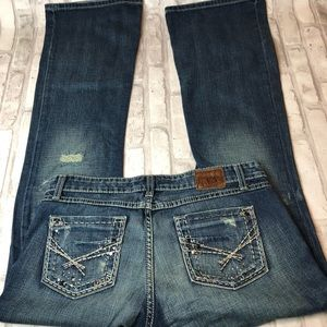 BKE Jeans - BKE Sabrina Mid Rise Bootcut Distressed Jeans M28